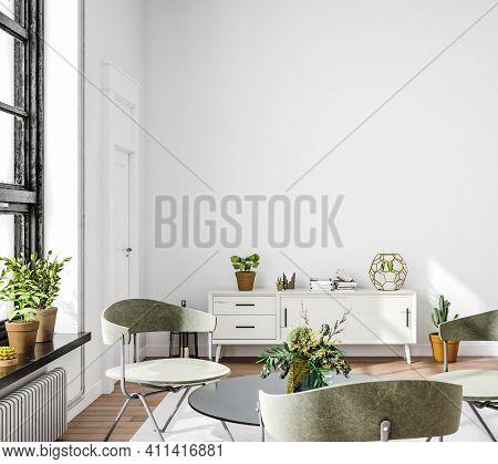 Living Room Interior In Loft, Industrial Style, 3d Illustration