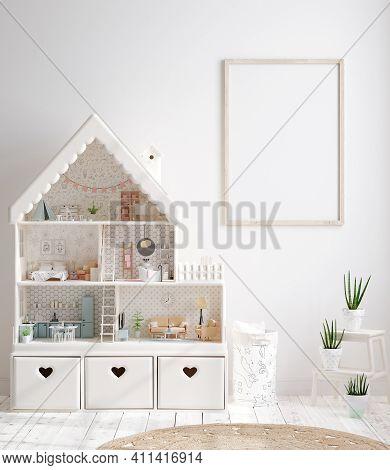 Mock Up Frame In Cozy Nursery Interior Background, Scandinavian Style, 3d Illustration