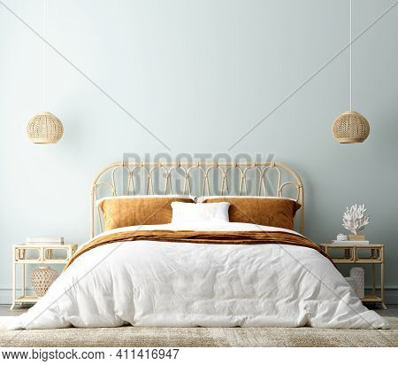 Coastal Boho Style Bedroom Interior Background, Wall Mockup, 3d Illustration