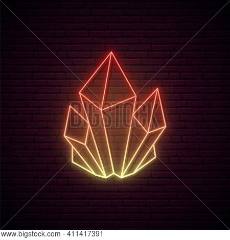 Crystal Neon Sign. Orange Glowing Crystal Icon. Concept Of Magical Mineral Or Crystal In Neon Style.