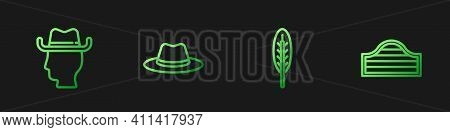 Set Line Indian Feather, Cowboy, Western Cowboy Hat And Saloon Door. Gradient Color Icons. Vector