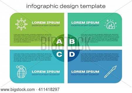 Set Line Hand Grenade, Naval Mine, Medieval Spear And Bomb Explosion. Business Infographic Template.