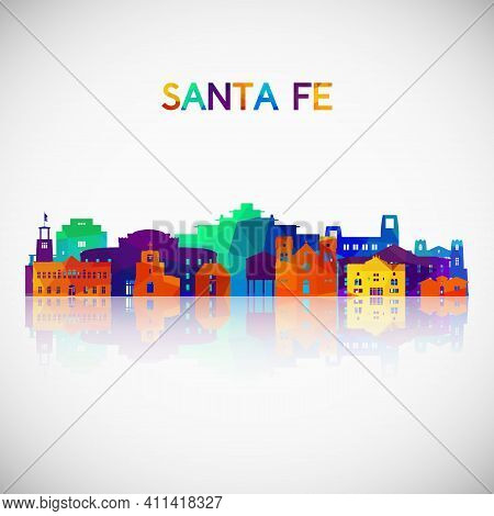 Santa Fe Skyline Silhouette In Colorful Geometric Style. Symbol For Your Design. Vector Illustration