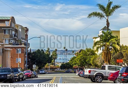 San Diego,ca - November 12,2016:in Autumn Day On The Streets Of San Diego City, California,united St