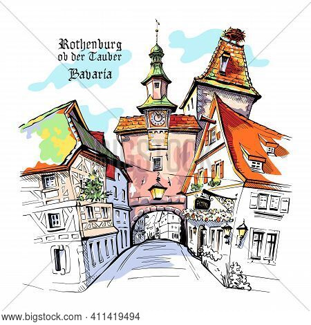 Vector Color Sketch Of Markusturm In Medieval Old Town Of Rothenburg Ob Der Tauber With City Name, B