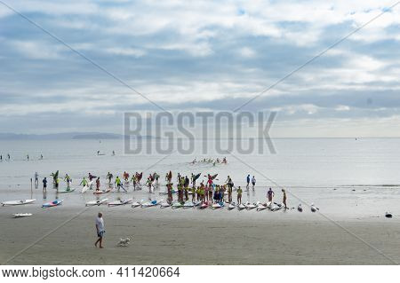 Orewa, New Zealand - February 19 2021; Group Youth On Saturday Morning At Beach For Surf Lifesaving