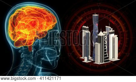 Human Brain Affected By Urban Stress, Cg Industrial 3d Illustration
