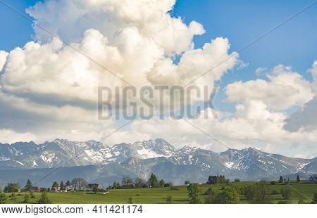 View Of Tatra Mounains.tatra Mountains In The Morning. Beautiful Green Valley At Snowy Mountains Foo