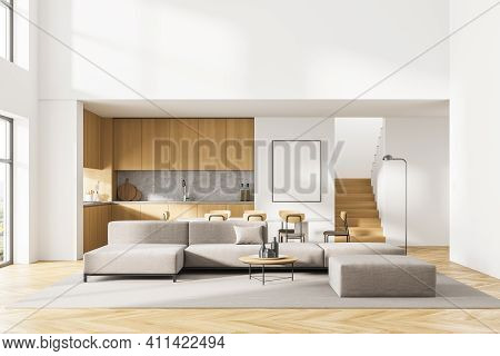 White Poster On Wall. Luxurious And Modern Interior Of Living Room. Kitchen Area With Dining Table.