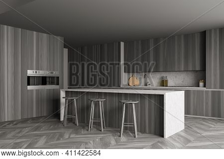 Grey Dining Room With Grey Minimalist Furniture On Parquet Floor, Side View. Modern Eating Room And