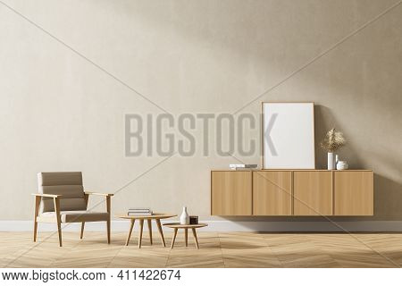 Modern Interior Of Living Room With Wooden Cabinet And Armchair. 3d Rendering