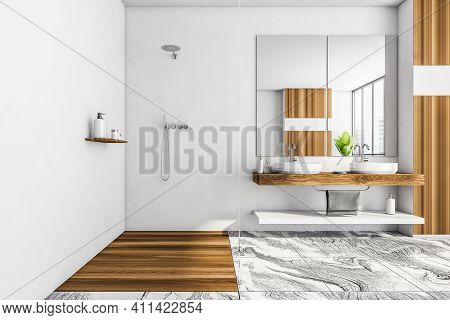 White Wooden Bathroom With Glass Shower And Two Washbasins. Minimalist Design Of Modern Bathroom Wit