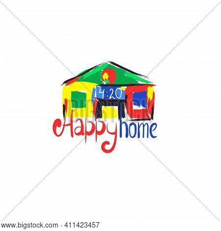 Happy Home Concept Hemp Theme. Artistic House Painted With Paint Strokes. Hemp Symbol. Cannabis Them