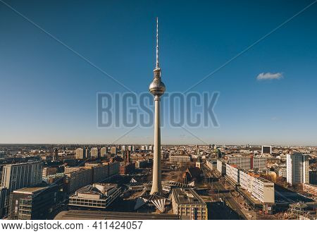 Berlin, Germany - Feb 10, 2021: Aerial View Towards Berlin Tv Tower Near Alexanderplatz In Berlin Mi