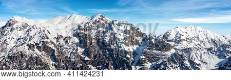 Mountain Range Of Monte Carega In Winter With Snow, Also Called The Small Dolomites (piccole Dolomit