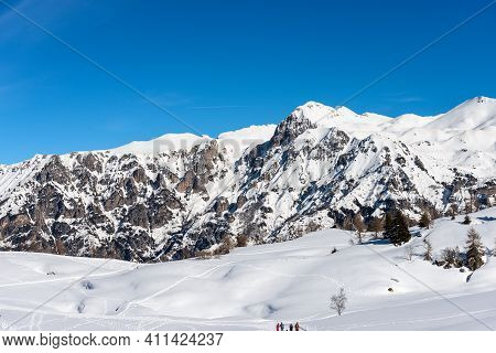 Mountain Range Of Monte Carega In Winter With Snow, Called The Small Dolomites And The Altopiano Del