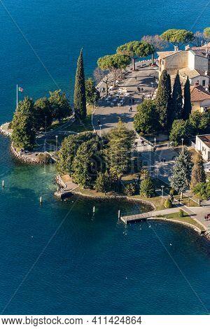 Aerial View Of The Promenade Of The Small Garda Town, Tourist Resort On The Coast Of Lake Garda, Vie