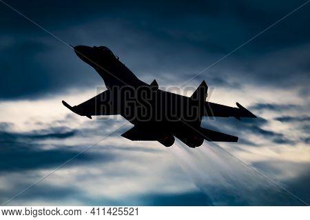 Fairford, United Kingdom - July 13, 2018: Ukrainian Air Force Sukhoi Su-27p Flanker 58 Fighter Jet D
