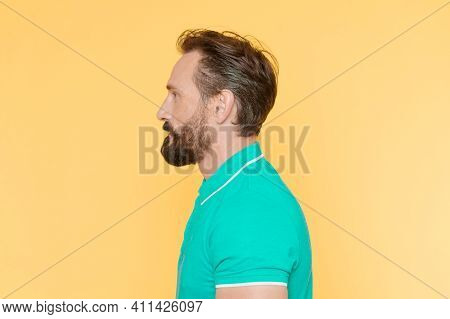 Man With Beard Has Proper Posture. Sporty Lifestyle And Proper Nutrition Helps To Keep Youth Even At