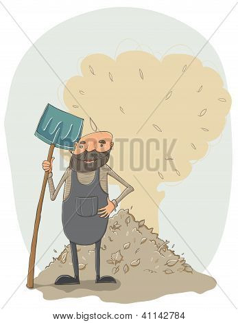 Janitor with a shovel