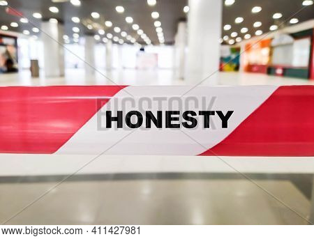 Honesty Word On Red And White Dividing Ribbon