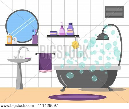 Illustration Of A Bathroom Interior With Accessories. Bathroom, Sink For Hand Washing, Shampoos And