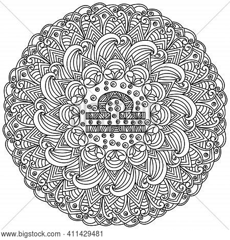 Zodiac Sign Libra Mandala, Contour Zen Coloring Page With Tangled Patterns And Curls Vector Illustra