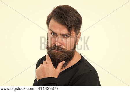 Maximum Length You Can Genetically Grow. Caucasian Guy Long Beard. Bearded Man With Stylish Mustache
