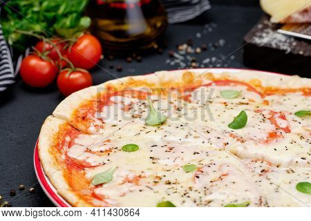 Fresh Vegetarian Cheese Vegetable Eurasia Pizza. Delicious Traditional Italian Classical Dish Food