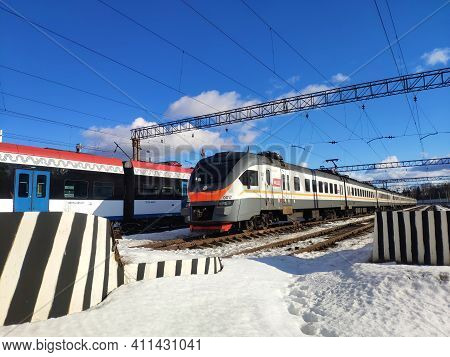 Moscow, Russia - 03 March 2021: Electric Trains In The Depot Parking Lot. Trains On The Railway In W