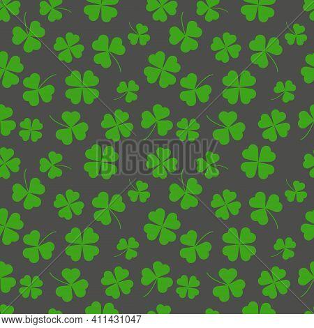 Clover Leaf Seamless Pattern Vector Illustration. St Patrick's Day Symbol, Irish Lucky Shamrock Back