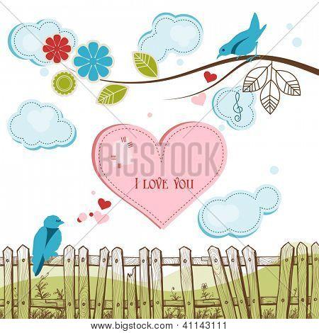 Blue birds singing love vector illustration