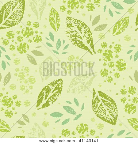 Stamped green Leaves Seamless Pattern Background