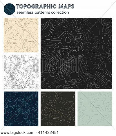 Topographic Maps. Authentic Isoline Patterns, Seamless Design. Modern Tileable Background. Vector Il