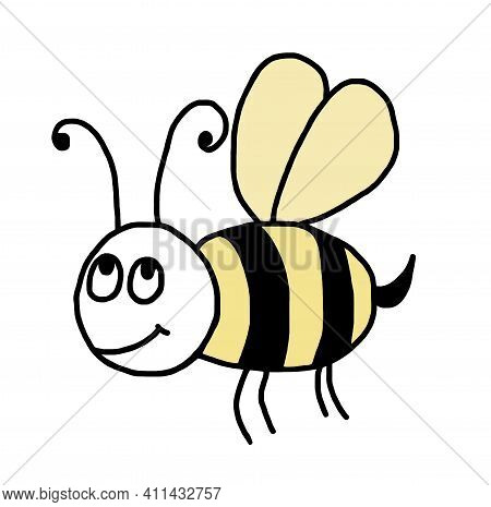 Yellow And Black Cartoon Bee. A Cheerful, Honeybee On A White Background. A Beautiful Insect With Wi