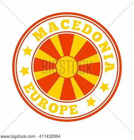 Macedonia Sign. Round Country Logo With Flag Of Macedonia. Vector Illustration.