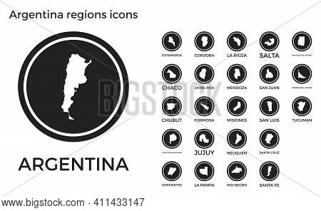 Argentina Regions Icons. Black Round Logos With Country Regions Maps And Titles. Vector Illustration