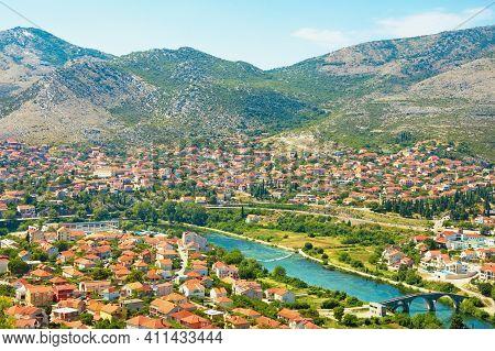Beautiful Sunny Summer Landscape. Bosnia And Herzegovina, Republika Srpska. View Of Ancient City Of