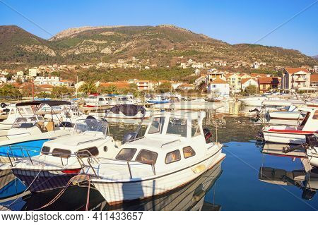 Fishing Boats In Harbor. Montenegro, Tivat City, View Of Marina Kalimanj