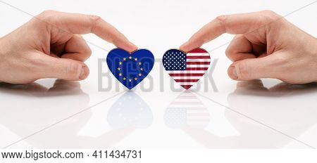 The Concept Of Friendship And Diplomatic Relations Between The European Union And Usa. Two Male Hand
