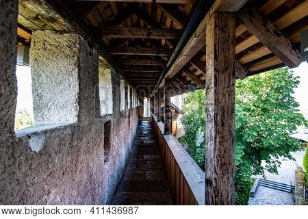 Abandoned Bled Castle Walls During Covid Tourism Crysis, Slovenia