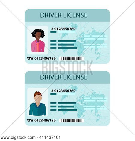 Man And Woman Driver License Isolated On White Background. Driver License Plastic Card Template. Veh