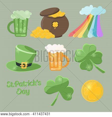 Saint Patrick's Day Character Set Leprechaun Hat, Pot Of Gold Coins, Rainbow, Shamrock, Pint Of Beer