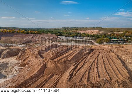 Panoramic View Onto Quarry, Where's Excavating Construction Aggregates: Sand, Gravel, Clay. There Ar