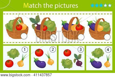 Matching Game, Education Game For Children. Puzzle For Kids. Match By Elements.  Baskets Of Vegetabl