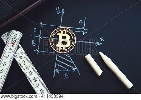 Bitcoin Geometric Harmony. Symbol Of Planning, Rationality.