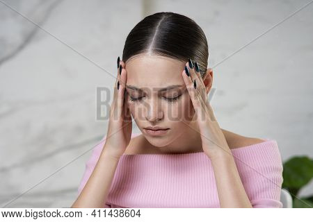 Portrait Of Beautiful Sick Ill Girl With Eyes Closed, Young Stressed Tired Nervous Woman Suffering F