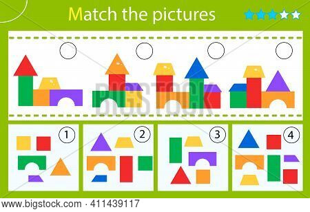 Matching Game, Education Game For Children. Puzzle For Kids. Match By Elements. Toy Pyramids. Worksh