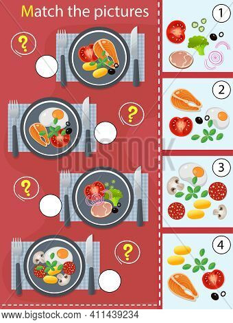 Matching Game, Education Game For Children. Puzzle For Kids. Match By Elements. Portions Lunch Or Di