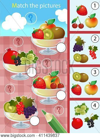 Matching Game, Education Game For Children. Puzzle For Kids. Match By Elements. Vases With Fruits An